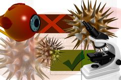 Eye,virus and microscope Royalty Free Stock Photo