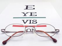 Eye vision. Eye glasses placed on conceptual eye exam chart spelling Eye Vision Stock Photography