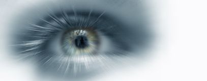 Eye vision. Blue eye future vision banner Stock Photography
