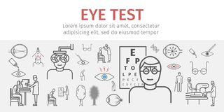 Eye vision test banner. Line icons set. Infographics. Vector signs. For web graphics Stock Photos