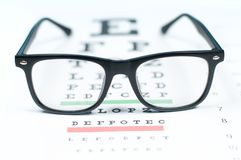 Eye vision test chart seen through eye glasses. Prescription glasses sitting on an eye test chart Royalty Free Stock Photography
