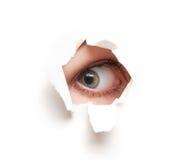 Eye a vista através do furo no cartaz de papel vazio branco Fotografia de Stock Royalty Free