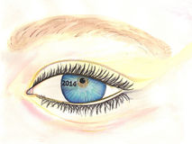 2014 Eye Watercolor. Blue enlarged eye watercolor with long eyelashes and thick brown eyebrow with 2014 vision Stock Illustration