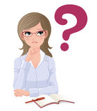 Eye-wear glasses woman with question mark Royalty Free Stock Image