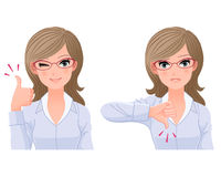 Eye-wear glasses woman with thumbs-up and down. Eye-wear glasses woman posing thumbs-up and down. File contains Gradients,Clipping mask, Blendng tool Royalty Free Stock Photo