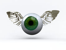 Eye with wings that fly Royalty Free Stock Photos
