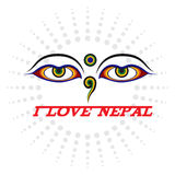 Eye of Wisdom sign and I LOVE NEPAL Stock Photography