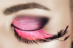 Eye With Pink Eyelashes Stock Photo