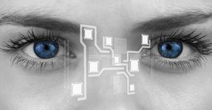 Eye of woman looking at cloud computing digital interface stock photography