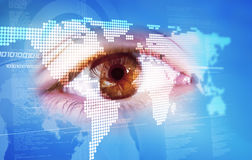 Eye and world map Stock Image