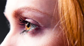 Eye of young beautiful woman Stock Images