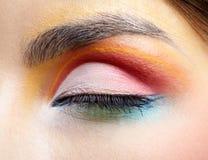 Eye zone make up. Close-up of beautiful girl's eye zone make up Stock Image