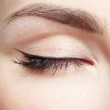 Eye zone makeup. Close-up portrait of young beautiful woman's eye zone make up Stock Photos