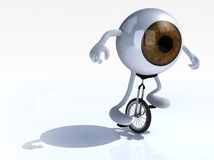 Eyeball with arms and legs rides a unicycle Royalty Free Stock Photography