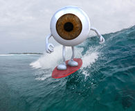 Eyeball with arms and legs surfing on the sea. 3d illustration Stock Images
