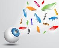 Eyeball with books. Illustration of Eyeball with books isolated on white stock illustration