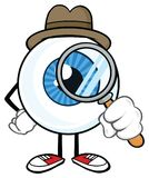 Eyeball Detective Cartoon Mascot Character. Look With A Magnifying Glass. Illustration Isolated On White Background stock illustration