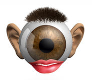 Eyeball with ears, lips and hair Stock Photography
