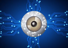 Eyeball with  electronic circuit technology background Royalty Free Stock Image