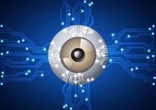 Eyeball with  electronic circuit technology background. Vector illustration EPS10 Royalty Free Stock Image