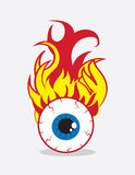 Eyeball on Fire. Single eyeball on fire in flames Royalty Free Stock Photo
