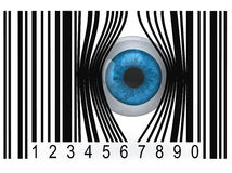 Eyeball that gets out from a bar code. Blue eyeball that gets out from a bar code, 3d illustration Royalty Free Stock Images