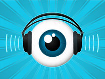 Eyeball with headphones. Listening music stock illustration