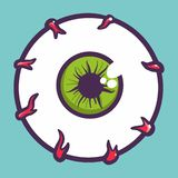 Eyeball icon, hand drawn style stock illustration
