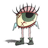 Eyeball. Illustration of tired eyeball with wings and legs in boots. Bloodshot eye Stock Images