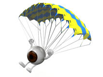 Eyeball that is landing with parachute Royalty Free Stock Photo