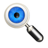 Eyeball in magnifier glass Royalty Free Stock Photos