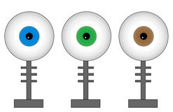 Eyeball monster. Set - green, blue and brown eyes Stock Photo