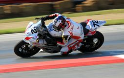 Eyeball NYC team. Miles Thornton races the Yamaha YZF-R6 for Eyeball NYC team at the pro motorsports racing motorcycle event Stock Images