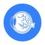 Eyeball o ícone no estilo preto isolado no fundo branco Ilustração do vetor do estoque do símbolo dos órgãos ilustração royalty free