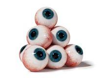 Eyeball a pirâmide com os olhos humanos realísticos com a íris azul isolada na ilustração branca do fundo 3d ilustração royalty free