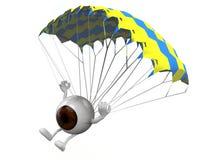 Eyeball que está aterrando com paraquedas ilustração stock