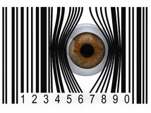 Eyeball que sai de um código de barras ilustração stock