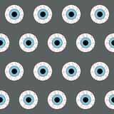 Eyeball seamless pattern on grey background stock illustration