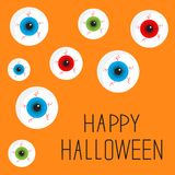 Eyeball set with bloody streaks. Happy Halloween Stock Photography