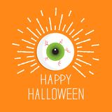 Eyeball with shine lines.  Happy Halloween card. Flat design style. Stock Photo