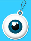 Eyeball tag. Isolated on blue Stock Images