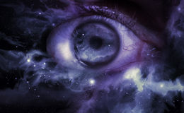 Eyeball Universe Background. Giant eyeball starscape backdrop with colorful space clouds Stock Image