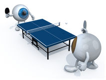 Eyeballs with arms and legs that playing to table tennis. Two eyeballs with arms and legs that playing to table tennis, 3d illustration Stock Images