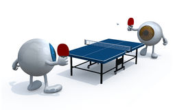 Eyeballs with arms and legs that playing to table tennis. Two eyeballs with arms and legs that playing to table tennis, 3d illustration Royalty Free Stock Image