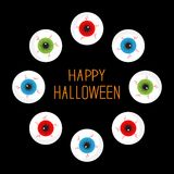 Eyeballs with bloody streaks. Round frame on black. Happy Halloween card. Flat design. Royalty Free Stock Photo