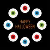 Eyeballs with bloody streaks. Round frame on black. Happy Halloween card. Flat design. Royalty Free Stock Photo