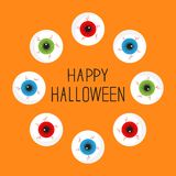 Eyeballs with bloody streaks. Round frame. Happy Halloween card. Flat design. Stock Photos