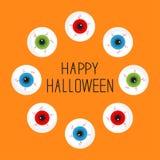 Eyeballs with bloody streaks. Round frame. Happy Halloween card. Flat design. Stock Photos