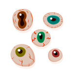 Eyeballs with bloody streaks.. Round frame. Happy Halloween design elements in cartoon and Flat design Royalty Free Stock Photo