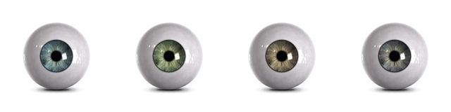 Eyeballs with clipping path. Rendering of 4 different eyeballs. Colors: blue, green, brown, green/gray. Real or glass eye with clipping path Royalty Free Stock Photography